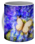Hydrangea With White Butterfly Coffee Mug