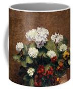 Hydrangeas And Wallflowers And Two Pots Of Pansies Coffee Mug