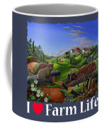 I Love Farm Life T Shirt - Spring Groundhog - Country Farm Landscape 2 Coffee Mug