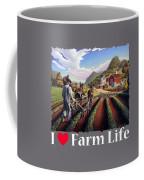 I Love Farm Life Shirt - Farmer Cultivating Peas - Rural Farm Landscape Coffee Mug