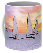 Ice Sailing On The Gouwzee In The Countryside From The Netherlan Coffee Mug