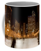 Ice Skaters And Chicago Skyline Coffee Mug