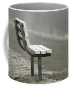 Icy Bench In The Fog Coffee Mug