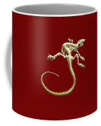 Iguana Skeleton In Gold On Red  Coffee Mug