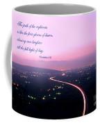 Illuminated Highway At Dusk - Greeting Card With Scripture Verse Coffee Mug by Yali Shi