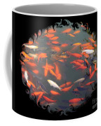 Imperial Koi Pond With Black Swirling Frame Coffee Mug