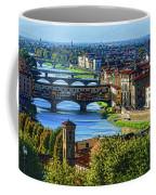 Impressions Of Florence - Long Blue Shadows On The Arno River Coffee Mug