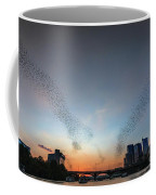 In Austin Streams Of Mexican Freetailed Bats The Worlds Largest Urban Bat Colony Take To The Skies During Sunset Coffee Mug