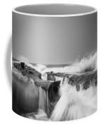 Incoming  La Jolla Rock Formations Black And White Coffee Mug