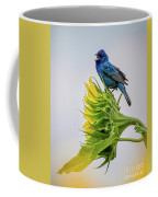 Indigo Bunting Sunflower Coffee Mug