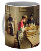 Interior Of A Frame Gilding Workshop Coffee Mug by Louis Emile Adan