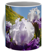Iris Flowers Purple White Irises Poppy Hillside Landscape Art Prints Baslee Troutman Coffee Mug