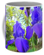 Irises Floral Garden Art Print Blue Purple Iris Flowers Baslee Troutman Coffee Mug