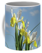 Irises In Blue Sky Art Print Spring Iris Flowers Baslee Troutman Coffee Mug