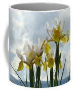 Irises Yellow White Iris Flowers Storm Clouds Sky Art Prints Baslee Troutman Coffee Mug