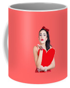 Isolated Pin Up Woman Holding A Heart Shaped Sign Coffee Mug