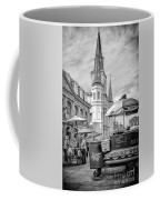 Jackson Square Scene New Orleans - Bw  Coffee Mug