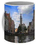 Jan Van Eyck Square With The Poortersloge From The Canal In Bruges Coffee Mug