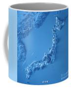 Japan 3d Render Topographic Map Blue Border Coffee Mug