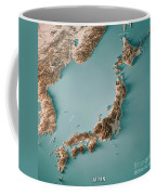 Japan 3d Render Topographic Map Neutral Border Coffee Mug