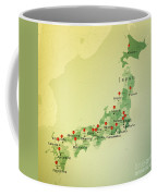 Japan Map Square Cities Straight Pin Vintage Coffee Mug