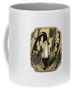 Japanese Katana Tsuba - Golden Twin Dragons On Black Steel Over White Leather Coffee Mug