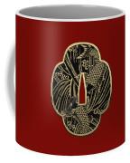 Japanese Katana Tsuba - Golden Twin Koi On Black Steel Over Red Velvet Coffee Mug
