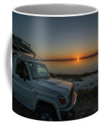 Jeep Driver Watching Sunset Over Peaceful River Coffee Mug