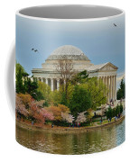 Jefferson Memorial, Springtime In Dc Is When Things Bloom, Like The Japanese Cherry Trees Coffee Mug