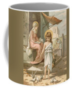 Jesus As A Boy Playing With Doves Coffee Mug by John Lawson