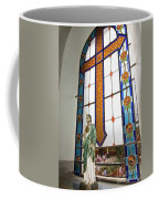 Jesus In The Church Window And School Girls In The Background Coffee Mug
