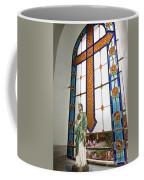 Jesus In The Church Window And School Girls In The Background Coffee Mug