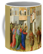 Jesus Opens The Eyes Of A Man Born Blind Coffee Mug by Duccio di Buoninsegna