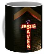 Jesus Saves In Neon Lights Coffee Mug