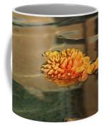 Jewel Drops - Orange Chrysanthemum Bloom Floating In A Fountain Coffee Mug