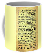 Jimmy Buffett Margaritaville Locations Black Font On Yellow Brown Texture Coffee Mug