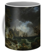 Joseph Vernet   A Shipwreck In Stormy Seas Coffee Mug
