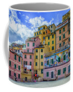 Joy In Colorful House In Piazza Di Riomaggiore, Cinque Terre, Italy Coffee Mug