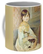 Julie Manet With Cat Coffee Mug by Pierre Auguste Renoir