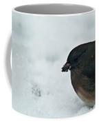 Junco Eating Seed In Snow Coffee Mug