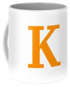 K In Tangerine Typewriter Style Coffee Mug