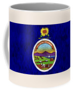 Kansas Map Art With Flag Design Coffee Mug