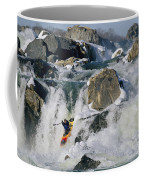 Kayaker Running Great Falls Coffee Mug