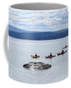 Kayakers Paddle To Fishing Cone On Yellowstone Lake Coffee Mug