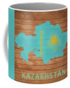 Kazakhstan Rustic Map On Wood Coffee Mug