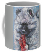 Keeshond Puppy With Christmas Stocking Coffee Mug
