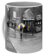 Kendall Square Rainy Day Cambridge Ma Blue And Yellow Coffee Mug