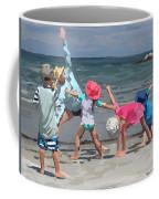 Kid's Yoga Class On Wingaersheek Beach Coffee Mug