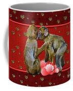 Kissing Chimpanzees Hearts Coffee Mug by Rockin Docks Deluxephotos