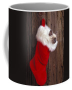 Kitten In Stocking Coffee Mug by Garry Gay